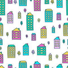 Vector seamless pattern with hand drawn doodle houses and trees. Bright colors - pink, blue, green, yellow. On white background.