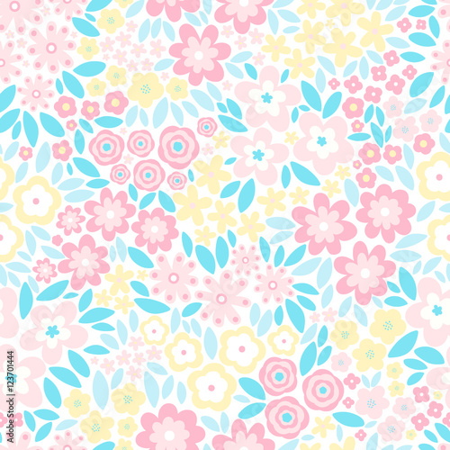 quotvector seamless pattern with flat flowers and leaves
