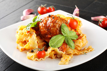 Pasta with meatball and tomato sauce
