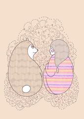 vector Girl and teddy bear raccoon tender friendship
