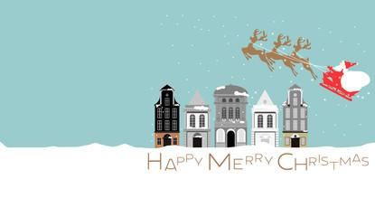 クリスマス、Christmas、サンタ、横長、建物、雪、トナカイ、シック、可愛い、メルヘン、ファンタジー