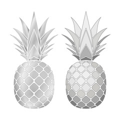 Pineapple silver icons set. Tropical fruits isolated on white background. Symbol of food, sweet, exotic and summer, vitamin, healthy. Nature logo. 3D concept. Design element Vector illustration