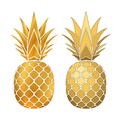 Pineapple gold icons set. Tropical fruit, isolated on white background. Symbol of food, sweet, exotic and summer, vitamin, healthy. Nature logo. 3D concept. Design element Vector illustration