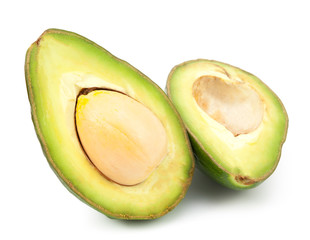 two slices of avocado isolated