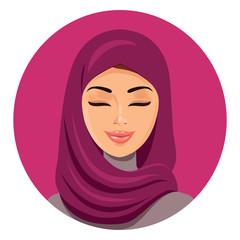Beautiful muslim arab woman in hijab closing her eyes vector flat icon avatar.