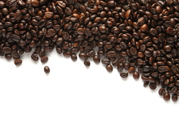 roasted coffee beans background texture isolated