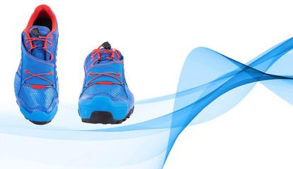 Geometrik Mavi Spor Ayakkabısı