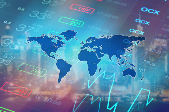Global economy, world financial markets concept. Abstract business collage: stock market chart, financial data and world map. Global business, economy, finance, investment abstract background.