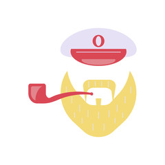 Sailor accessories icon. Captain peaked cap, pipe, beard. Isolated vector illustration on white background