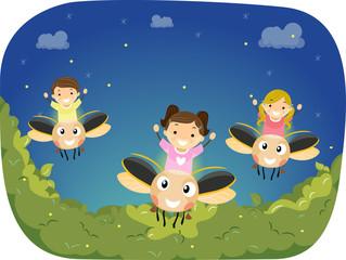 Kawaii dyr regnbue firefly tegneserie insekt Premium