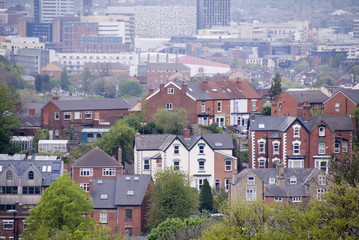 Sheffield, UK 03 05 2014: Overlooking city homes on 03 May 2014 at Meersbrook Park, Sheffield, UK