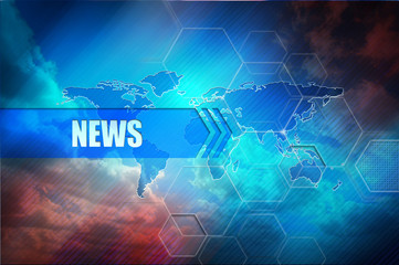 "News title, abstract colorful background, global map and text header ""News""."