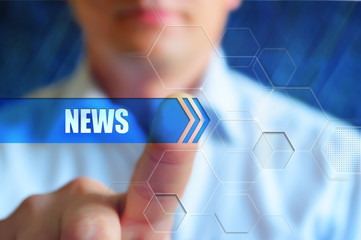 """News title, abstract colorful background, global map and text header """"News"""". Hightech design, blue news background. Colorful template cover for page of news."""