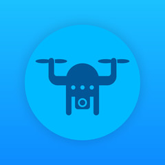 Drone icon, aerial footage, copter with camera