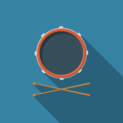 Flat design vector drum and drum sticks icon with long shadow
