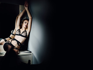 Beautiful, sexy woman in lingerie with big tits in black lace lingerie with stockings. Posing in the dressing room next to the mirror, a beam of light. Soft focus. Advertising Space