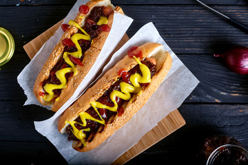 Homemade New York Style Hot Dog with Onion sauce