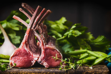 Raw racks of lamb