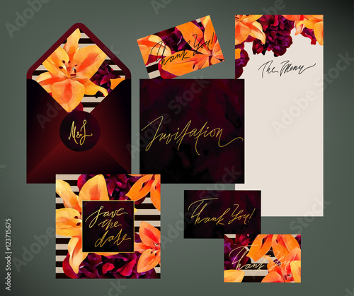 Trendy floral vector wedding print set invitation cards menu and trendy floral vector wedding print set invitation cards menu and envelope vector templates with stopboris Choice Image