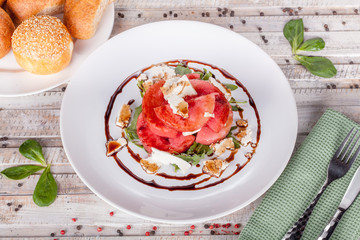 Dessert watermelon with goat cheese