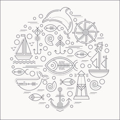Vector illustration with outlined nautical icons forming a circle