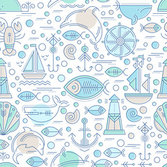 Vector seamless pattern with outlined seafaring and nautical signs
