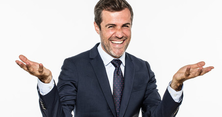 thrilled elegant businessman laughing and smiling showing openness and success
