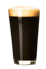 Obraz PInt of dark stout beer with thick foam head isolated on white background - fototapety do salonu