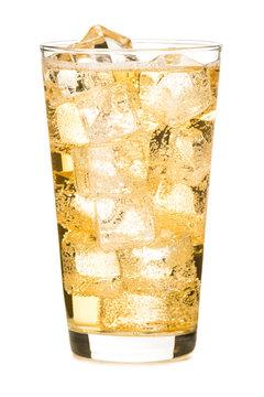 Sparkling Ginger Ale Hard Cider Soda Cocktail isolated on white background