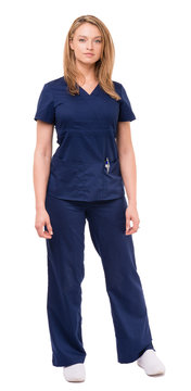 Pretty full-length woman female doctor nurse practitioner dental hygienist veterinarian tech with arms at sides isolated on white background