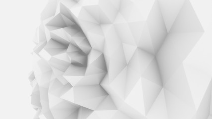 White low poly edgy sphere background for modern reports and presentations. 3D rendering