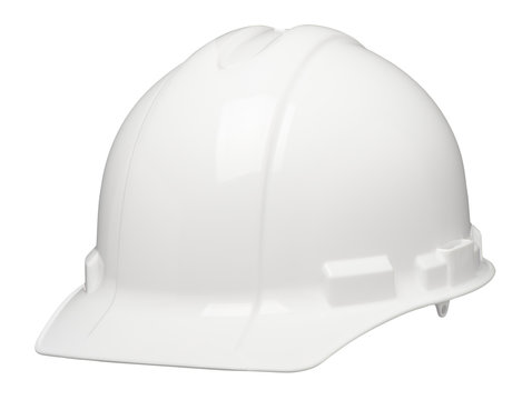 White construction worker contractor industrial safety hard hat helmet isolated on white background for use alone or as a design element