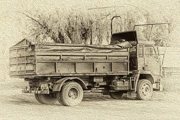 Fototapeta z ciężarówką