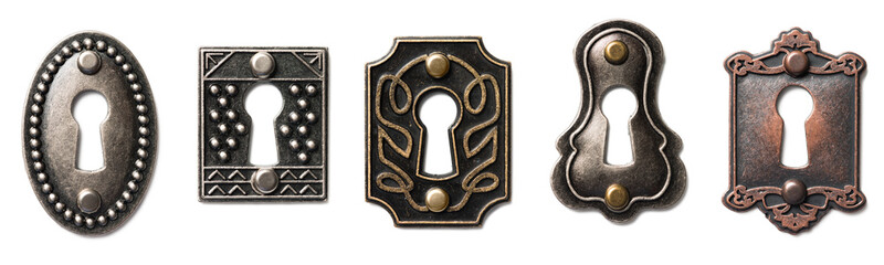 Antique Keyholes on White Wall mural