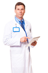 Doctor with Digital Tablet on White