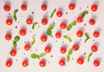top view of beautiful trendy pattern cherry tomato, dry peppers