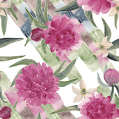 Seamless pattern with Beautiful Peony flowers.Watercolor painting