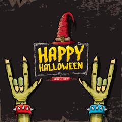 Happy halloween vector card with zombie hand.