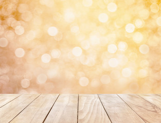 Wooden table on gold abstract background