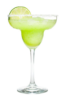 Frozen Margarita Cocktail with Lime and Salted Rim Isolated on White Background