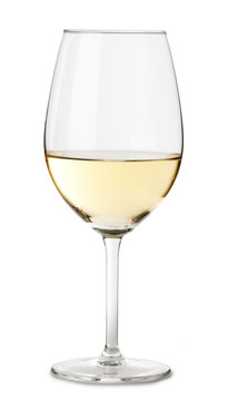 Single white chardonnay wine glass isolated on white background