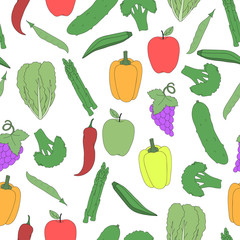 Vector vegetables and fruits pattern. hand-drawn healthy food seamless background.
