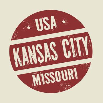 Grunge vintage round stamp with text Kansas City, Missouri