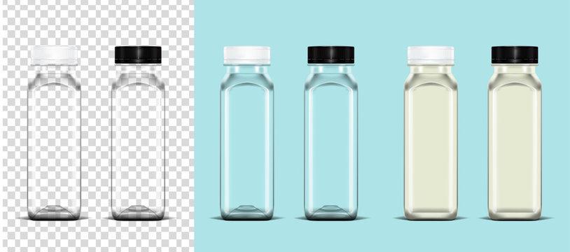 Transparent empty plastic bottle