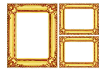 three antique gold wooden frames isolated on white
