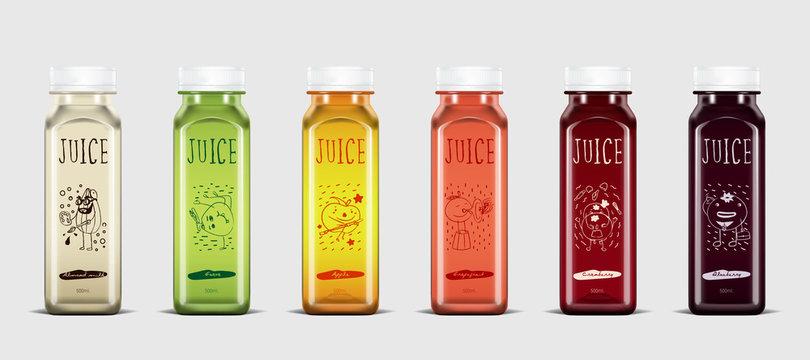 Plastic juice bottle brand concept