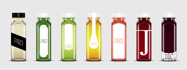 Plastic juice bottle with label template