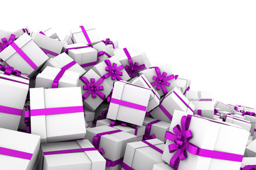 White gift boxes with violet ribbon bow