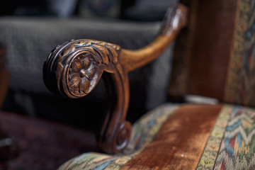 Antique wooden chair in the hotel room