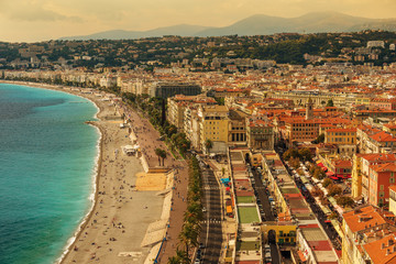 Nice, France: top view of old town andPromenade des Anglais